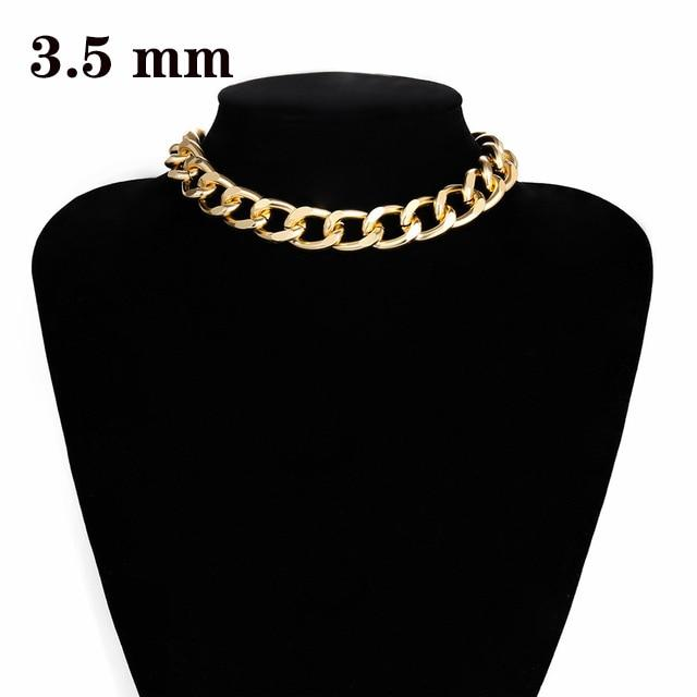 Cuban Choker Necklace Collar Big Chunky Aluminum Gold Color - Glow Gravity