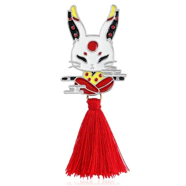 Vintage Animal Alloy Tassel Brooch Japanese Ninja Rabbit Fire Fox Snake - Glow Gravity
