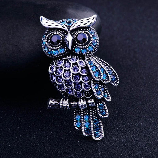 Women's Men's Owl Korean Zinc Alloy Trendy Blue Brooch Badge - Glow Gravity