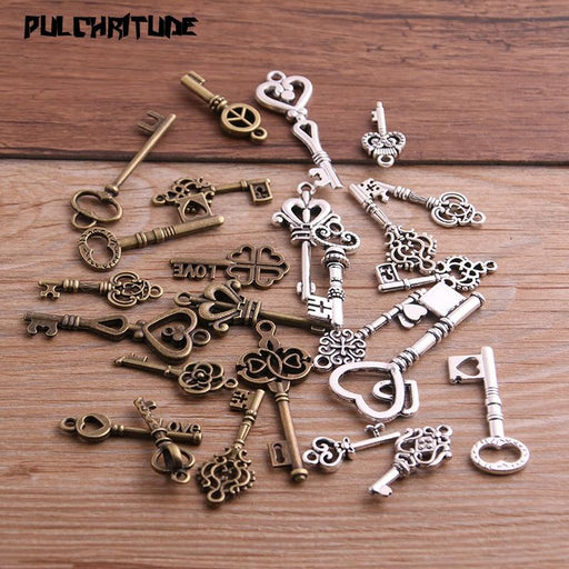 Vintage Metal Mixed Two color Small key Charms Pendants For Jewelry - Glow Gravity