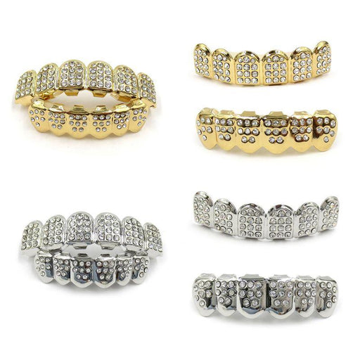 New Fshion Hip Hop Gold Silver Colour Iced Out CZ Teeth Grillz Top Bottom  Men Women Jewelry - Glow Gravity