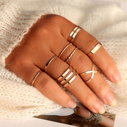 Original Design Gold Color Round Hollow Geometric Rings Set For Women - Glow Gravity