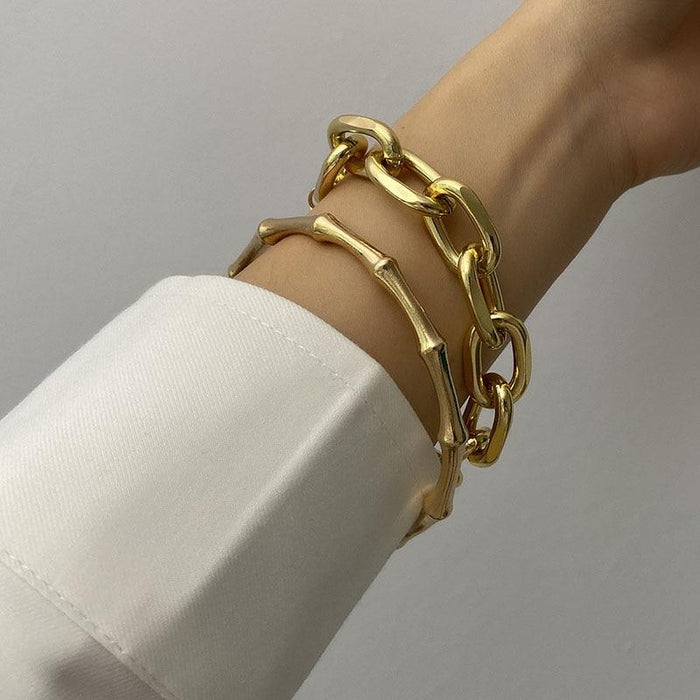 Gold Color Metal Chain Link Creative Bamboo Bracelet Bangle - Glow Gravity