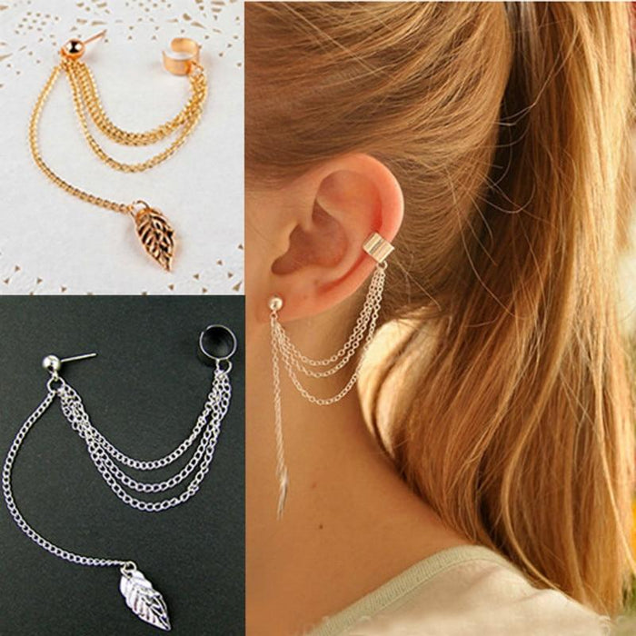 Fashion Personality Metal Ear Clip Leaf Tassel Earrings For Women - Glow Gravity