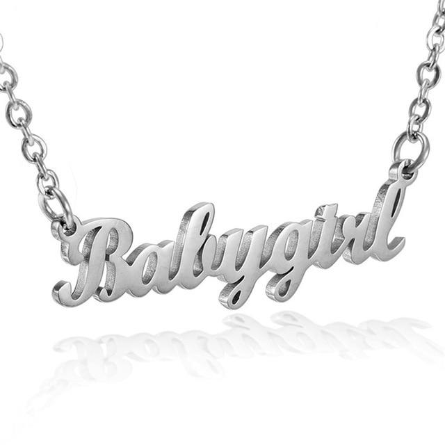 Fashion Baby Girls Necklace Necklace Letter Pendants Stainless Steel - Glow Gravity