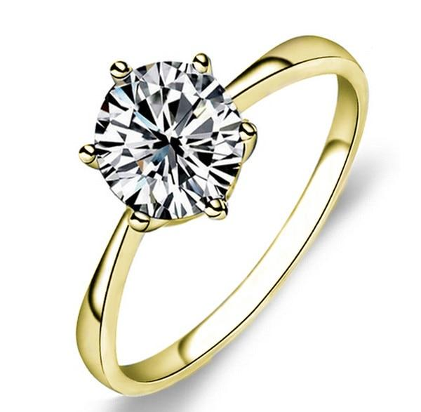 Classic Six Claw Gold Color Ring for  Engagement - Glow Gravity