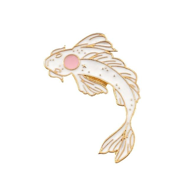 Brooch Cute Goldfish Enamel Pin Denim Lapel Fish Badge Family - Glow Gravity