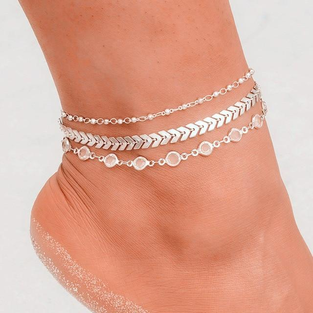 Bohemian Crystal Sequins Anklet Set Fashion Handmade Ankle Bracelet for Women Summer Foot Chain Beach Barefoot Jewelry - Glow Gravity