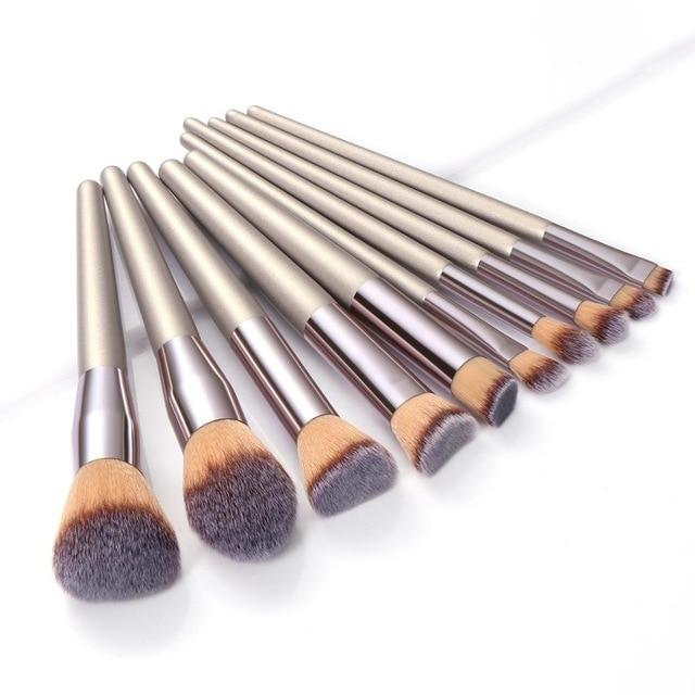 Champagne Makeup Brushes Set Foundation Powder Blush Eyeshadow - Glow Gravity
