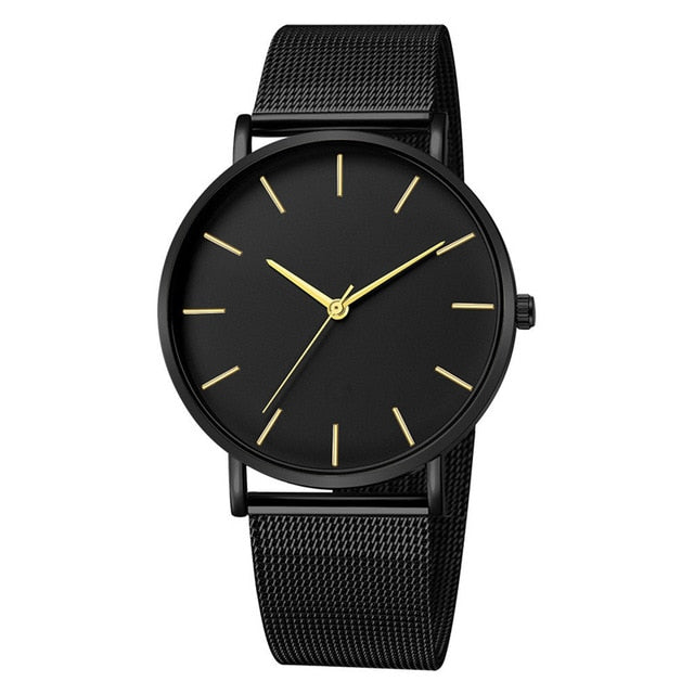Men Simple Metal Hour Reloj Quartz Watch - Glow Gravity