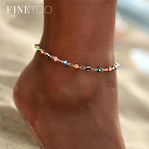 Bohemian Colorful Turkish Eyes Anklets for Women Gold Color Beads Summer Ocean Beach Ankle Bracelet Foot Leg Jewelry 2019 - Glow Gravity