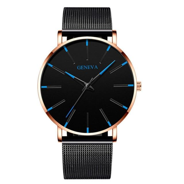 2020 Minimalist Men's Fashion Ultra Thin Simple Business Stainless Steel Mesh Belt Watch - Glow Gravity