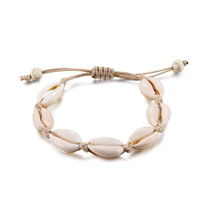 Shell Anklets for Women Handmade Leather Woven - Glow Gravity