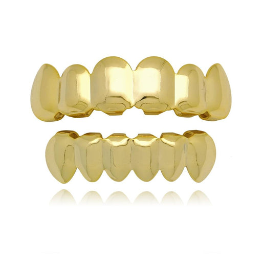 Gold Teeth Grillz Set Top Bottom Tooth Grills Dental Mouth Punk - Glow Gravity