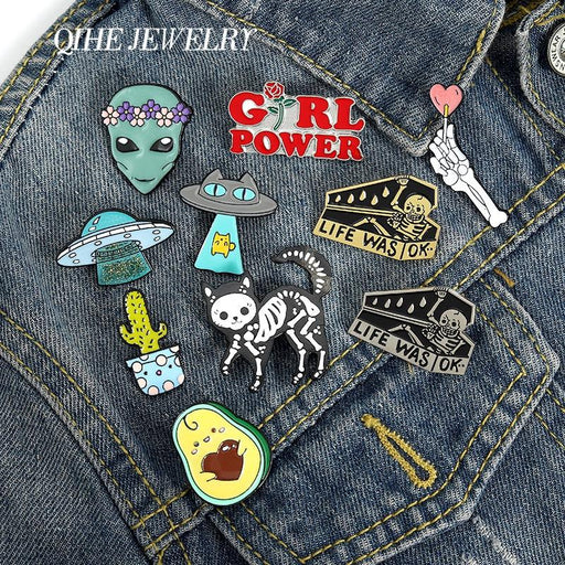 QIHE JEWELRY Skeleton Cat Enamel Lapel Pins Alien Avocado UFO Cute Brooches Badges Fashion Pins Gifts for Friends Pins Wholesale - Glow Gravity