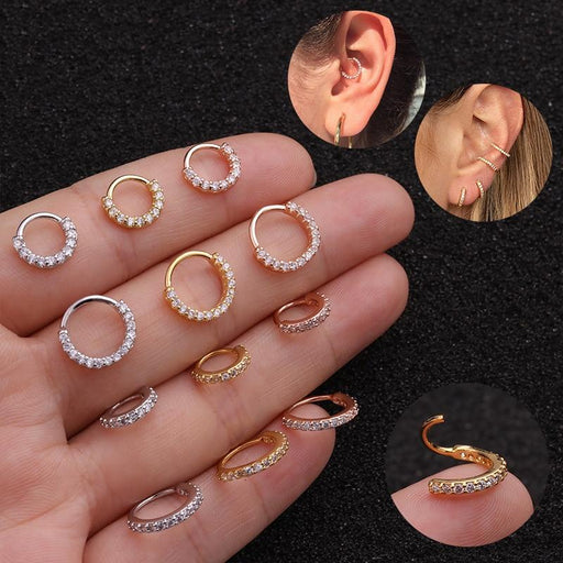 Cartilage Ear Stud Piercing Women Round Circle Earring Small Stud - Glow Gravity