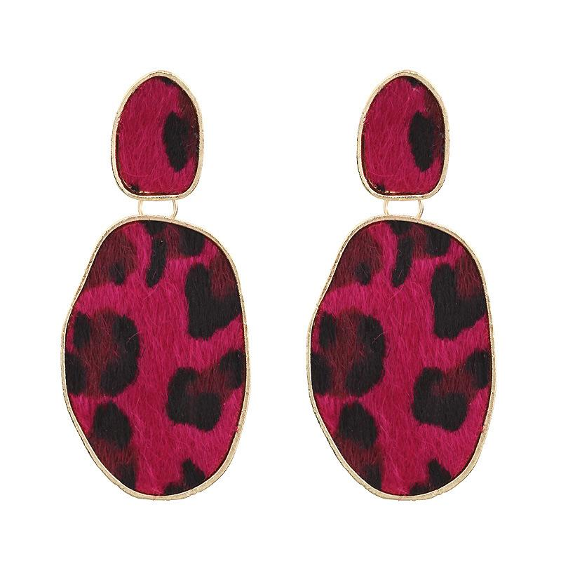 Oval Leopard Dangle Earrings