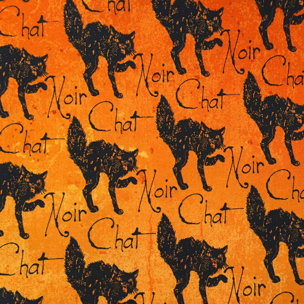 Black Cat Halloween fabric