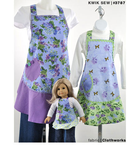 Childrens' Apron with matching doll apron sewing pattern
