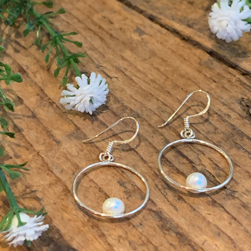 Sterling Silver Hoop with Pearl Earrings - Apothecary Gift Shop