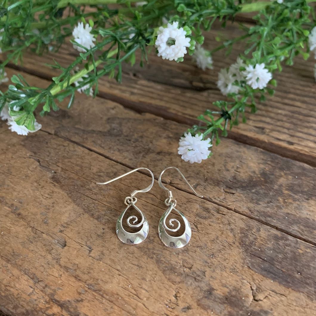Sterling Silver Teardrop Earrings with Swirl - Apothecary Gift Shop