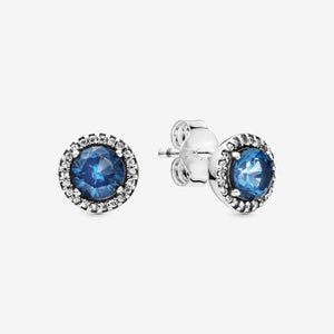 Pandora Round Blue Stud Earrings