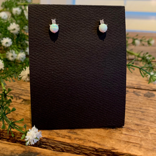 Sterling Silver White Opal with CZ Post Earrings - Apothecary Gift Shop
