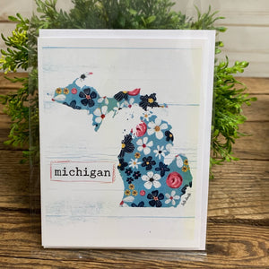 Blank Card Michigan Floral