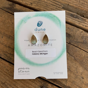 Amazonite & Sand Gradient Teardrop Earrings by Dune Jewelry - Apothecary Gift Shop