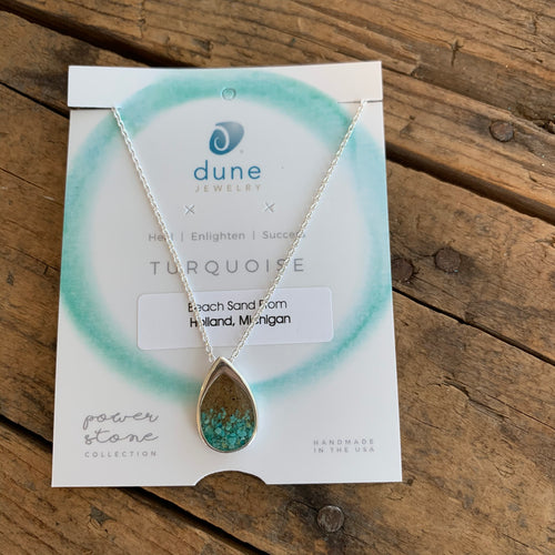 Turquoise & Sand Gradient Teardrop Necklace by Dune Jewelry - Apothecary Gift Shop