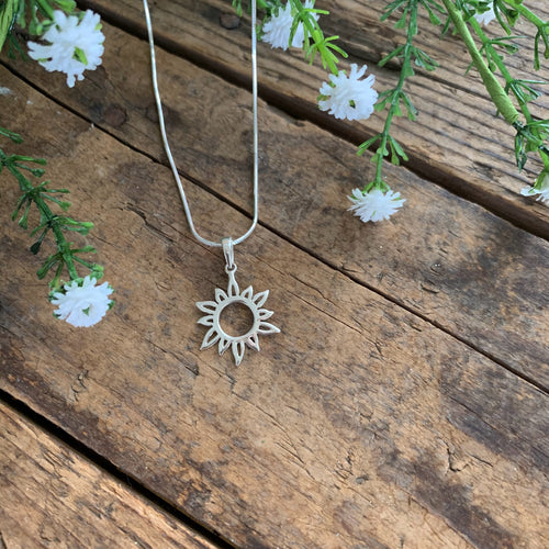 Sterling Silver Sunburst Pendant - Apothecary Gift Shop