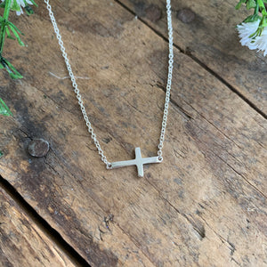 Sideways Cross Sterling Silver Necklace - Apothecary Gift Shop