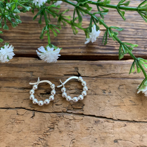 Beaded Hoop Sterling Silver Earrings - Apothecary Gift Shop