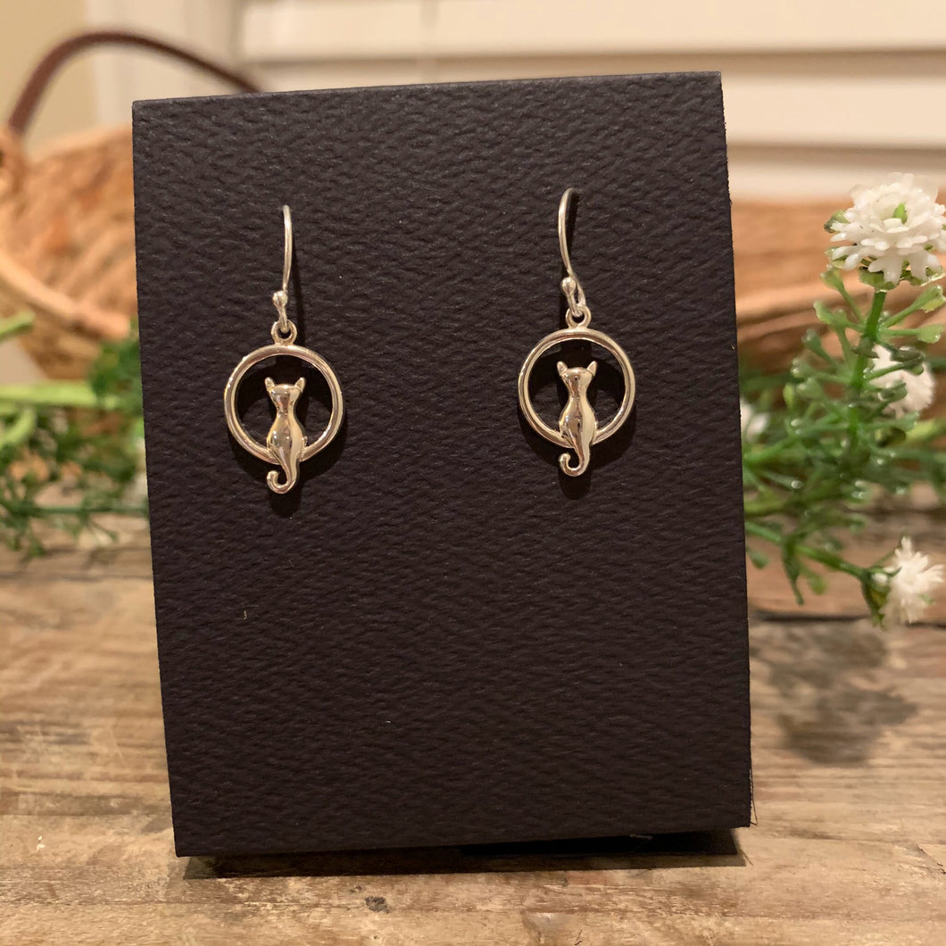 Cat in Moon French Hook Earrings - Apothecary Gift Shop