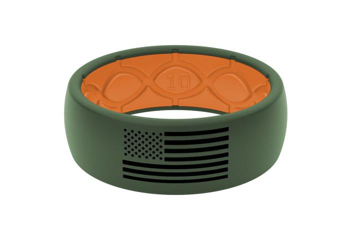 Silicone Ring Moss Green with Black American Flag