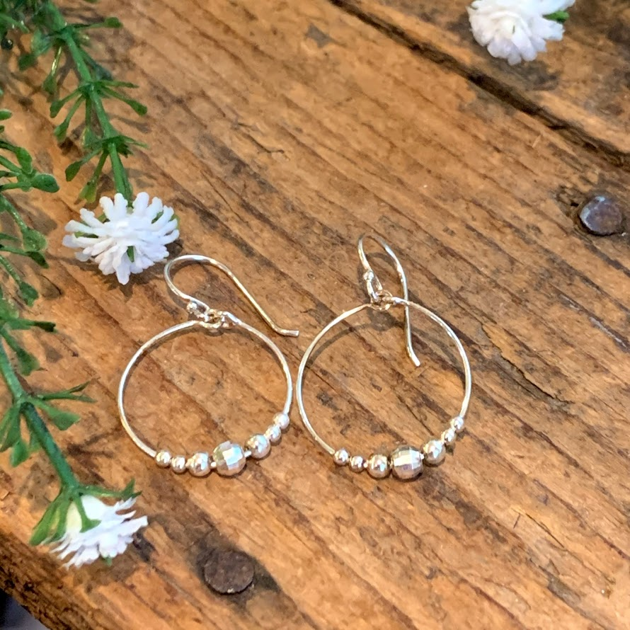 Delicate Hoop with Beads Earrings - Apothecary Gift Shop