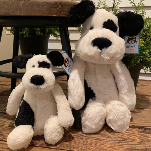 Bashful Black & White Puppy Jellycat Stuffed Animal - Apothecary Gift Shop