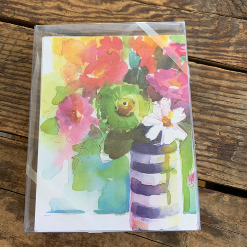 Striped Vase with Flowers Boxed Notecards - Apothecary Gift Shop