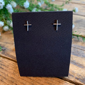Sterling Silver Thin Cross Post Earrings - Apothecary Gift Shop