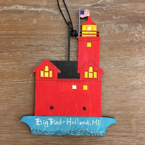 Hand Painted Big Red Lighthouse Ornament - Apothecary Gift Shop