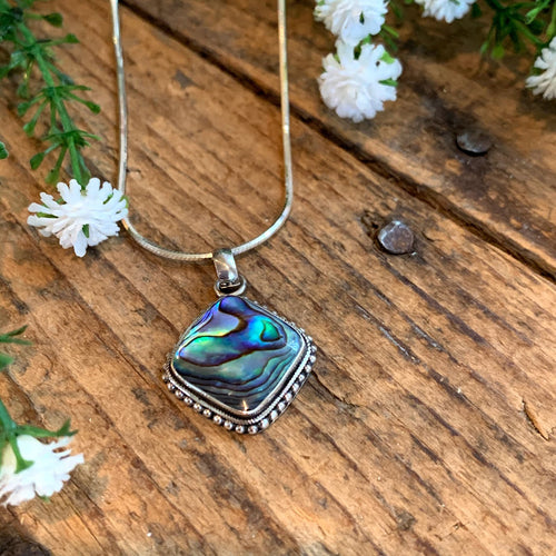 Sterling Silver Diamond Abalone Pendant - Apothecary Gift Shop