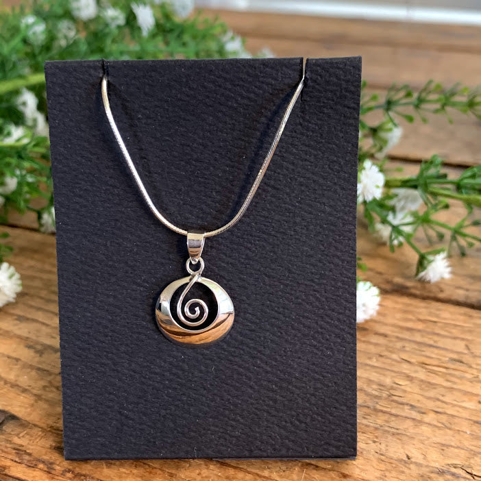Sterling Silver Spiral in Circle Pendant - Apothecary Gift Shop