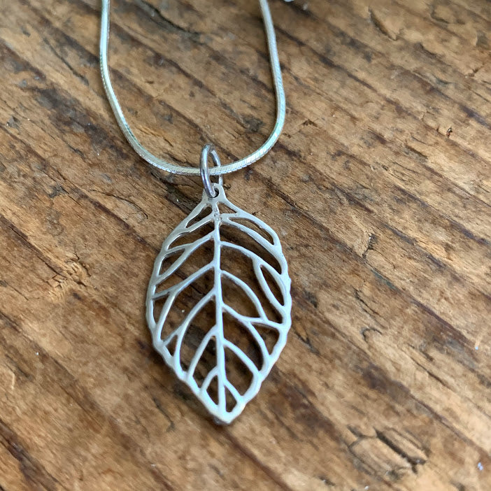 Sterling Silver Leaf Pendant - Apothecary Gift Shop