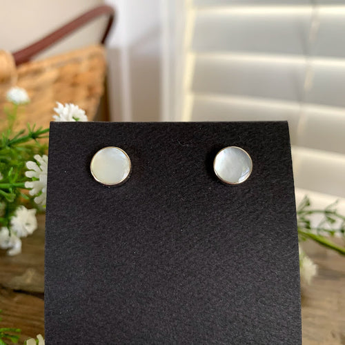 Sterling Silver Mother of Pearl Round Post Earrings - Apothecary Gift Shop