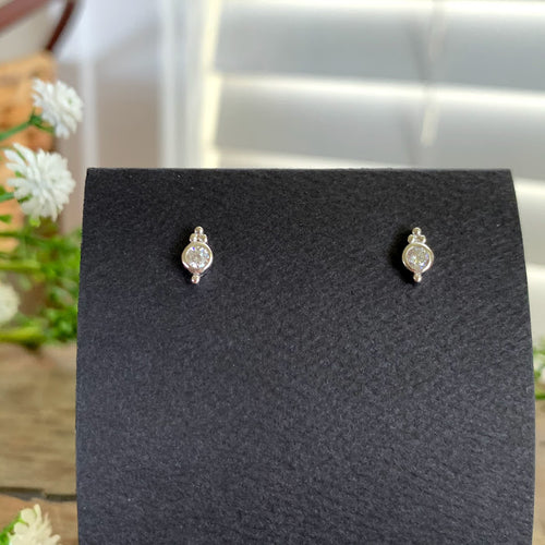 Sterling Silver Bezel CZ Post Earrings - Apothecary Gift Shop