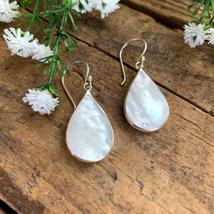 Sterling Silver Mother of Pearl Teardrop Earrings - Apothecary Gift Shop
