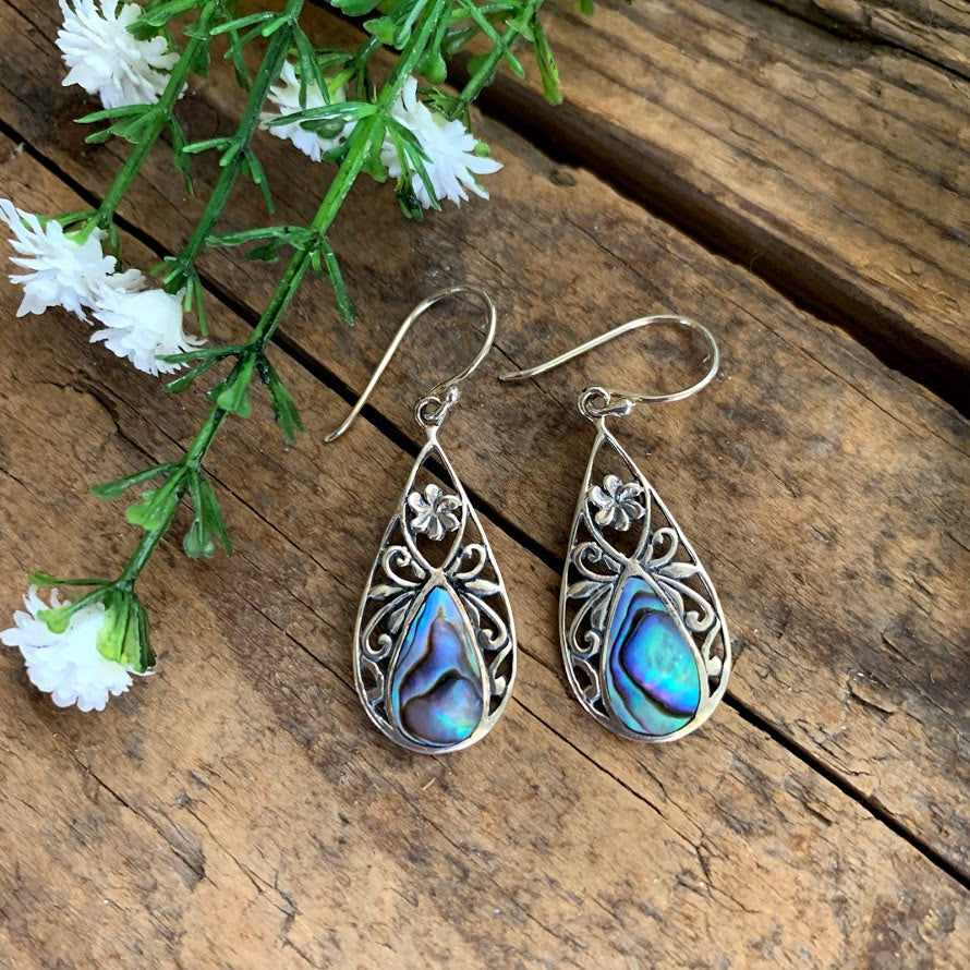 Sterling Silver Abalone Floral Teardrop Earrings - Apothecary Gift Shop