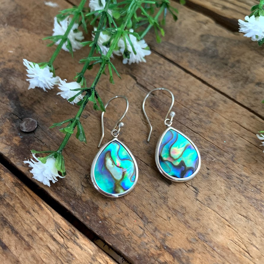 Sterling Silver Abalone Teardrop Earrings - Apothecary Gift Shop