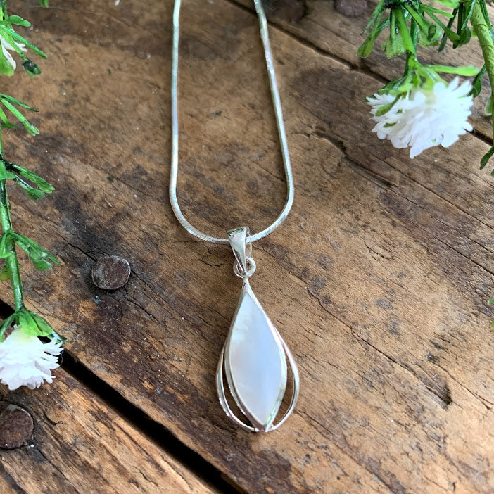 Sterling Silver Mother of Pearl Marquise Teardrop Pendant - Apothecary Gift Shop