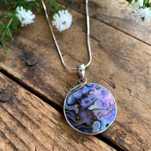Sterling Silver Round Abalone Pendant - Apothecary Gift Shop